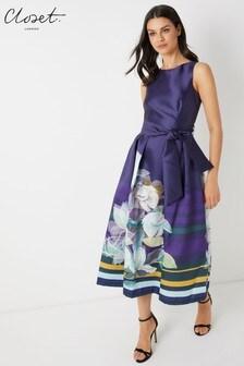 Closet V Back Full Skirt Dress