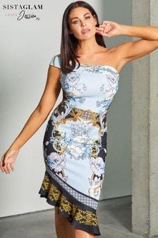 Sistaglam Loves Jessica One Shoulder Midi Frill Hem Dress