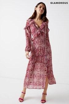 Glamorous Snake Print Long Sleeve Maxi Dress