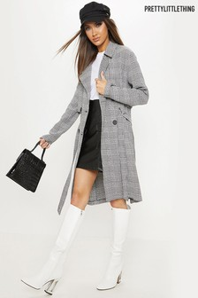 PrettyLittleThing Houndstooth Double Breasted Jacket