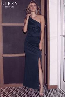Lipsy Sequin One Shoulder Maxi Dress