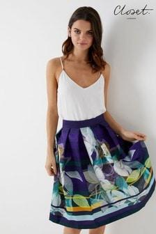 Closet Floral Pleated Skirt