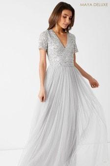 Maya V Neck Short Sleeve Sequin Maxi Dress