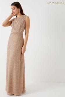 Maya Sequin Chiffon Maxi Dress