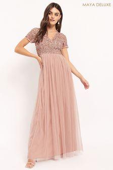 Maya V neck Sequin Maxi Dress