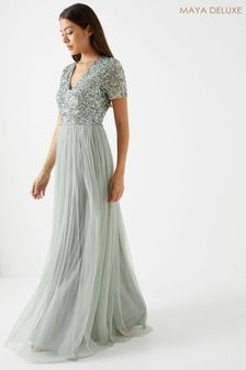 Maya V neck Flutter Sleeve Maxi Dress