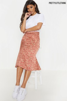 PrettyLittleThing Leopard Satin Fit & Flare Skirt