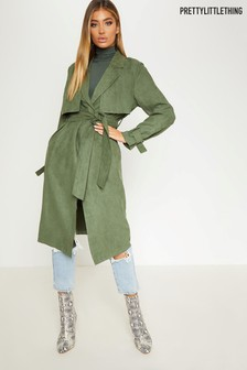 PrettyLittleThing Faux Suede Trench Coat