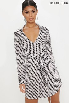 PrettyLittleThing Geo Print Wrap Dress