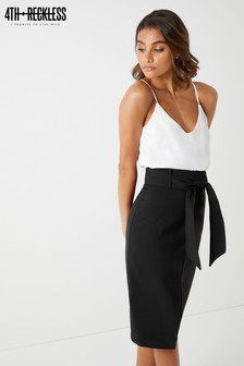 4th And Reckless Tie Waist Split Front Pencil Skirt