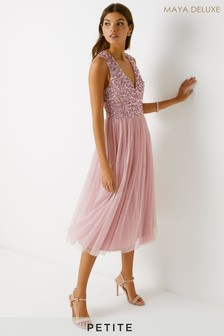 Maya Petite V neck Sleeveless Midi Dress