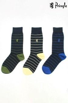 Pringle Mens - Pack of 3 Stripe Bamboo Socks