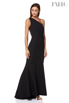 Jarlo One Shoulder Fishtail Gown Sheer Lace