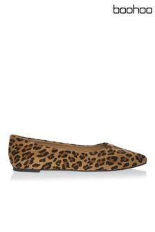 Boohoo Leopard Print Pointed Ballet Slippers