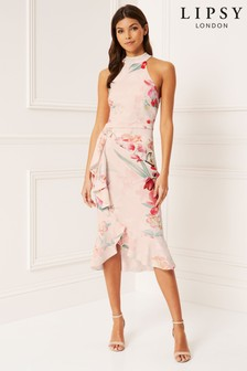 Lipsy Delilah Printed Halter Frill Bodycon Dress
