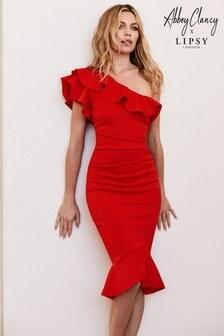 Abbey Clancy x Lipsy Ruffle One Shoulder Flippy Hem Bodycon Dress