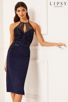 Lipsy Sequin Scalloped Midi Dress