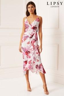 Lipsy Tigerlily Print Fit and Flare Midi Dress