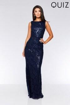 Quiz Sequin Baroque Pattern Sleeveless Maxi Dress