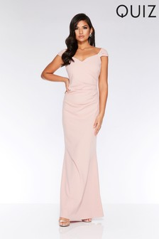 Quiz Bardot Embellished Brooch Maxi Dress