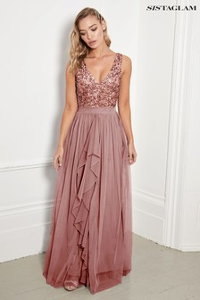 Sistaglam V neck Maxi Dress With Sequined Top