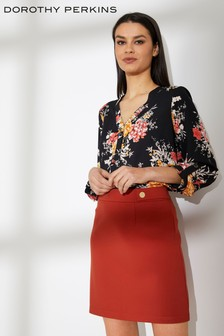 Dorothy Perkins Floral Collarless Roll Sleeve Shirt