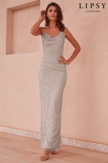 Lipsy All Over Embellished Cowl Neck Maxi Dress