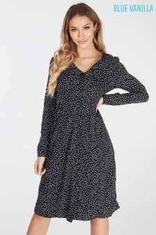 Blue Vanilla Polka Dot Button Front Midi Tea Dress