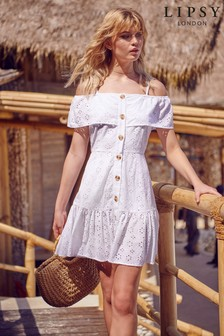 Lipsy Embroidered Button Beach Dress