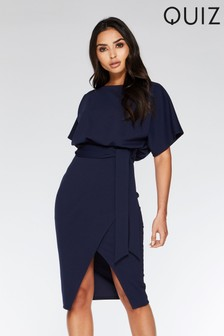 Quiz Batwing Belted Midi Dress