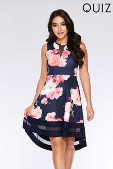 Quiz Mesh Floral  Dip Hem Dress