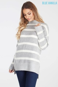 Blue Vanilla Striped High Neck Jumper