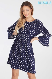 Blue Vanilla Frill Sleeve Babydoll Dress