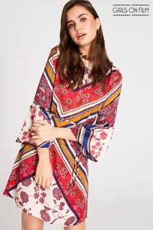 Girls On Film Scarf Print Dress