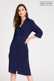Girls On Film Button Up Wrap Shirt Dress