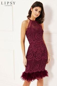 Lipsy VIP Lace Halter Feather Hem Bodycon Dress