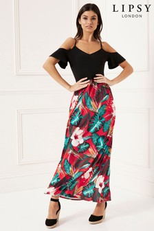 Lipsy 2 in 1 Tropical Cold Shoulder Maxi Dress