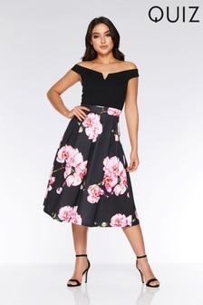 Quiz Bardot Floral Print Midi Dress