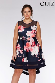 Quiz Curve Floral Bardot Dip Hem Dress