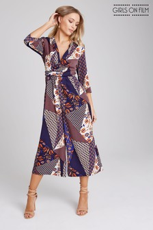 Girls On Film Splicing Printed Wrap Front Culotte Jumpsuit