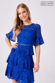 Girls on Film Lace Crochet Tiered Dress
