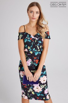 Girls On Film Bardot Strappy Floral Based Midi Bodycon Dress