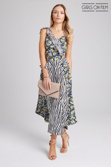 Girls On Film Print Mix Strappy Midi Dress