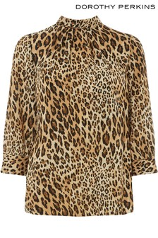 Dorothy Perkins Tall Animal Print Tie-Back Top