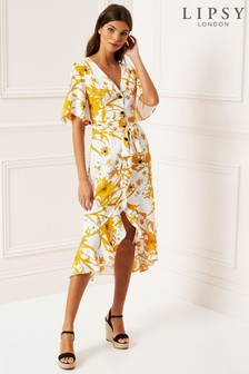 Lipsy Floral Button Through Midi Dress