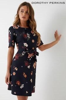 Dorothy Perkins Petite Floral Scuba Fit & Flare Dress