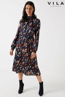 Vila Leopard Print Midi Dress