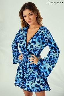 South Beach Leopard Wrap Beach Dress