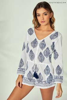 South Beach Print Long Sleeve Playsuit