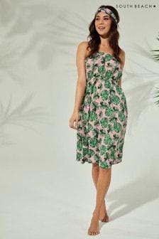 South Beach Floral Print Bandeau Midi Dress